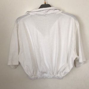 Tops - cropped white polo shirt with elastic waistband